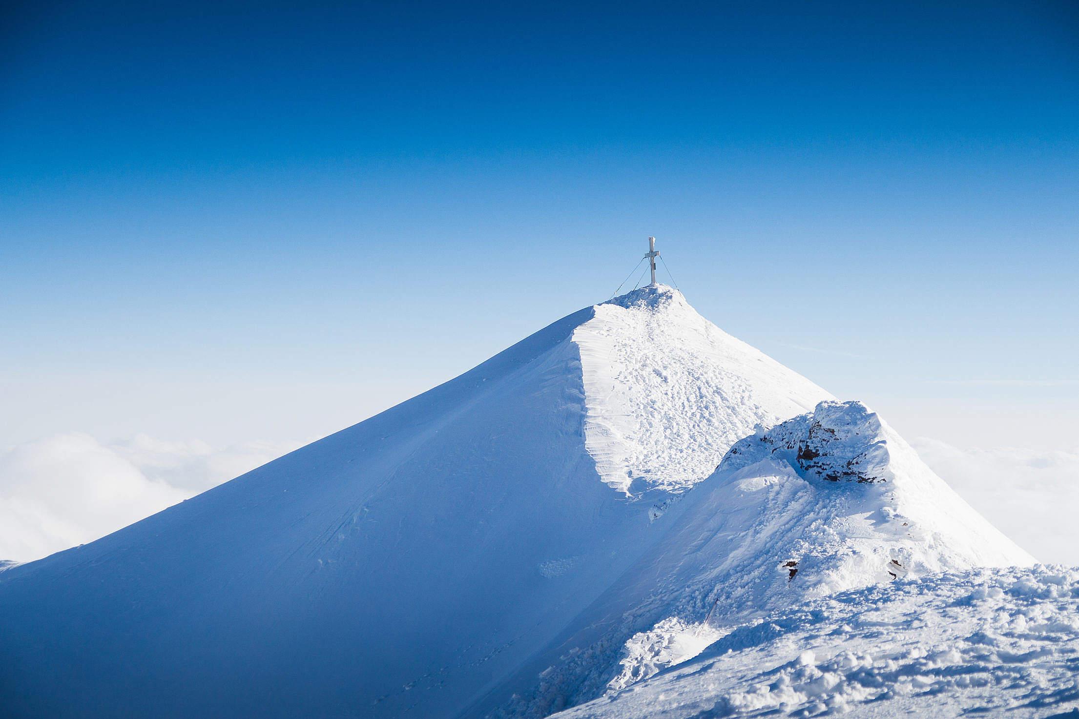 The Cross at Peak of Mölltaler Glacier Free Stock Photo