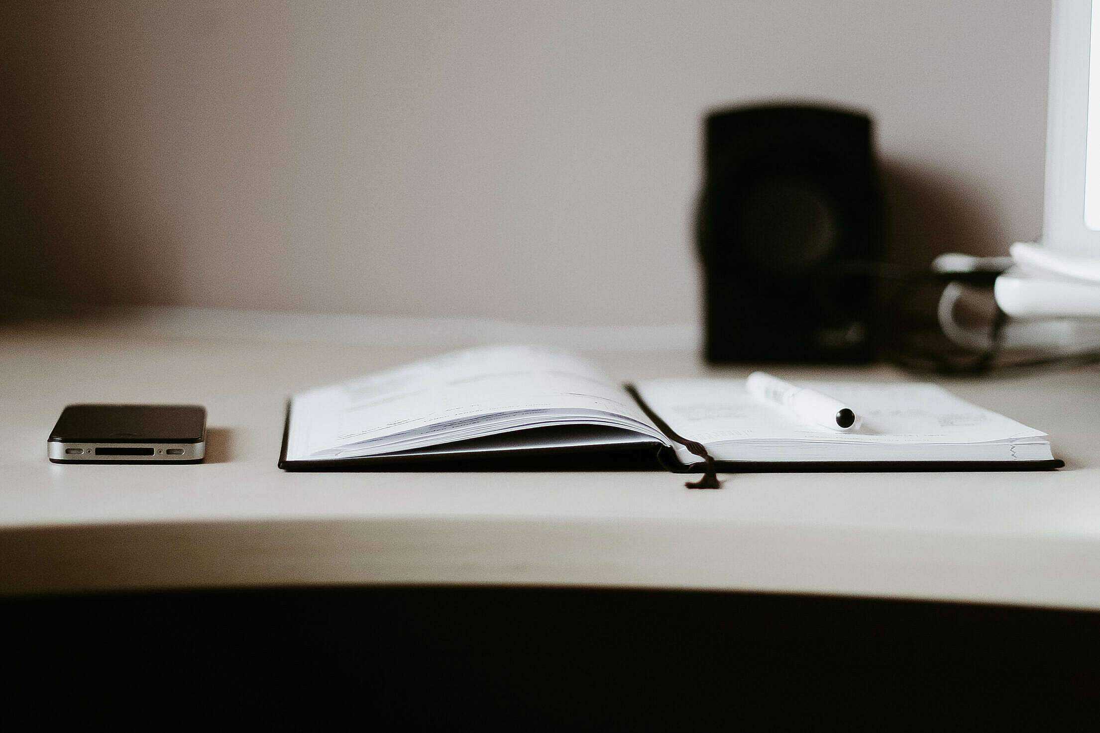 The Diary with Black iPhone Free Stock Photo