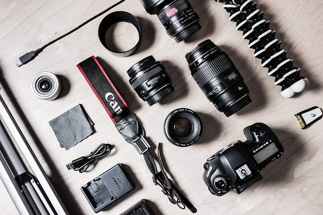 Download The Photographer's DSLR Camera Equipment FREE Stock Photo