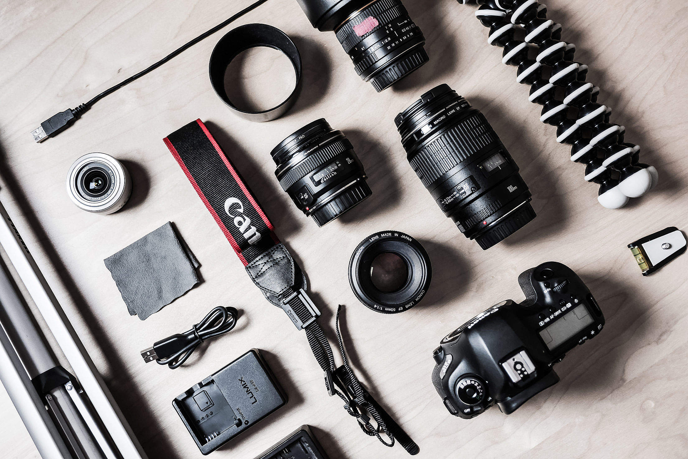 The Photographer's DSLR Camera Equipment Free Stock Photo