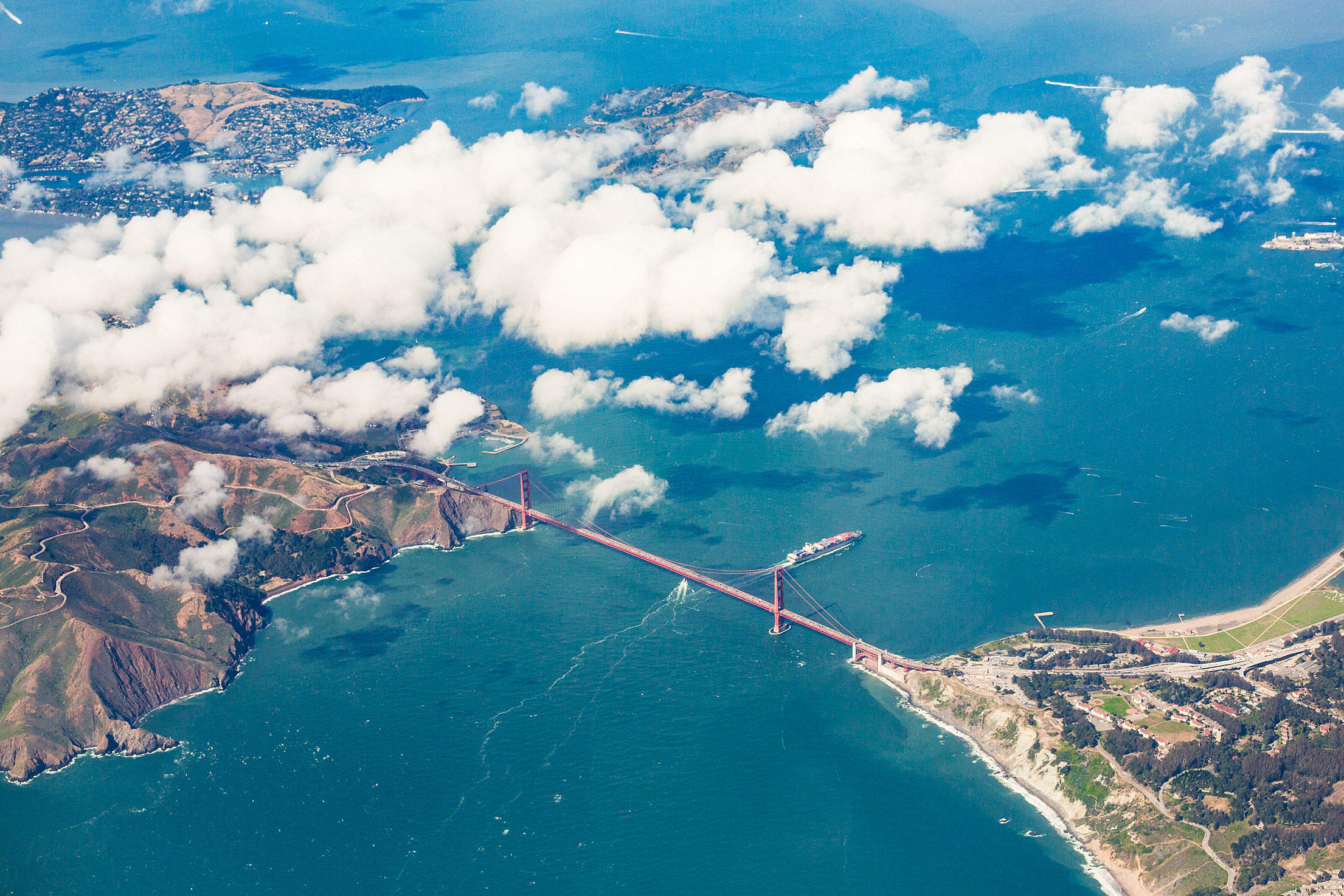The San Francisco Golden Gate Bridge Captured from Airplane Free Stock Photo