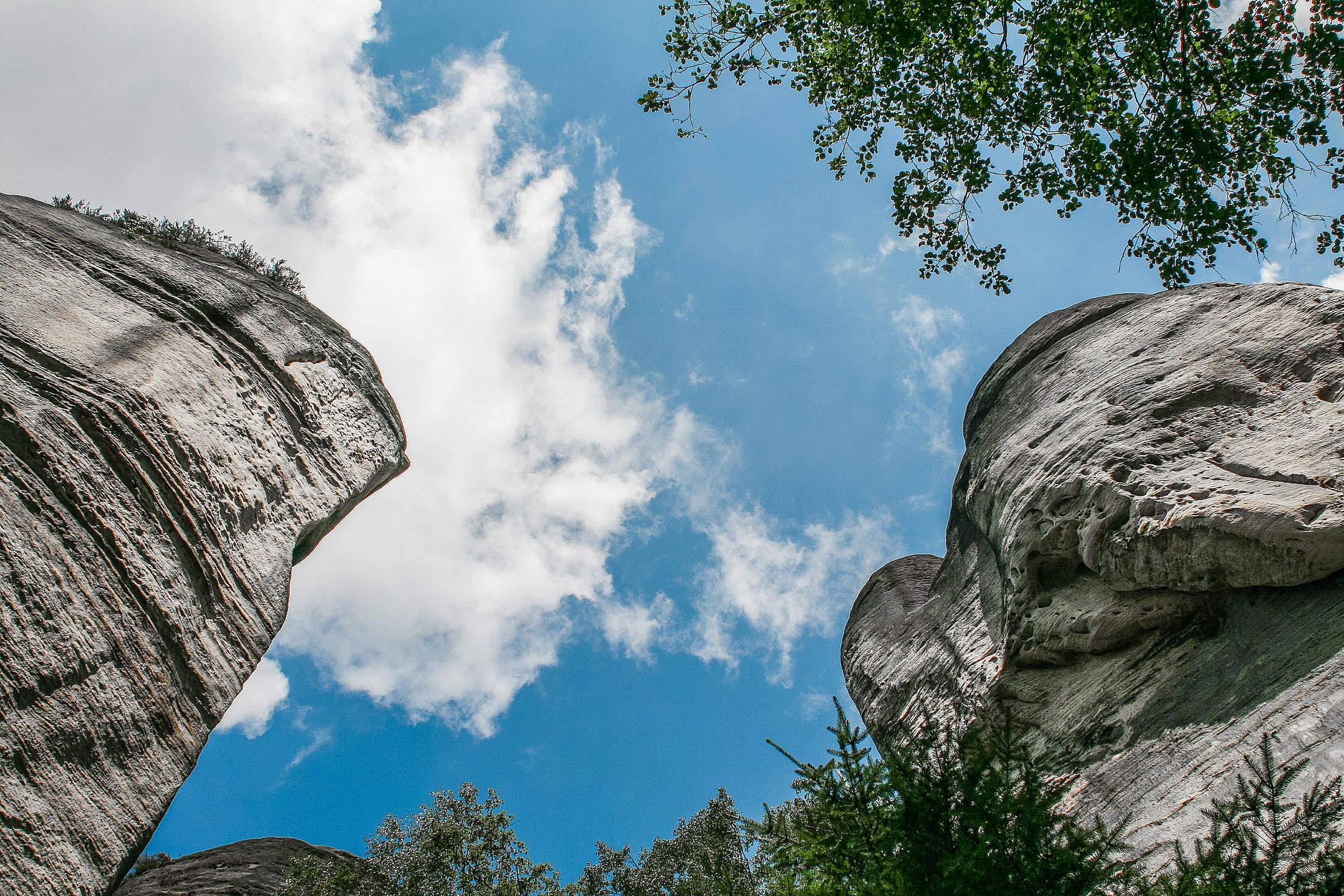 The Sky Through Adršpach-Teplice Rocks Free Stock Photo