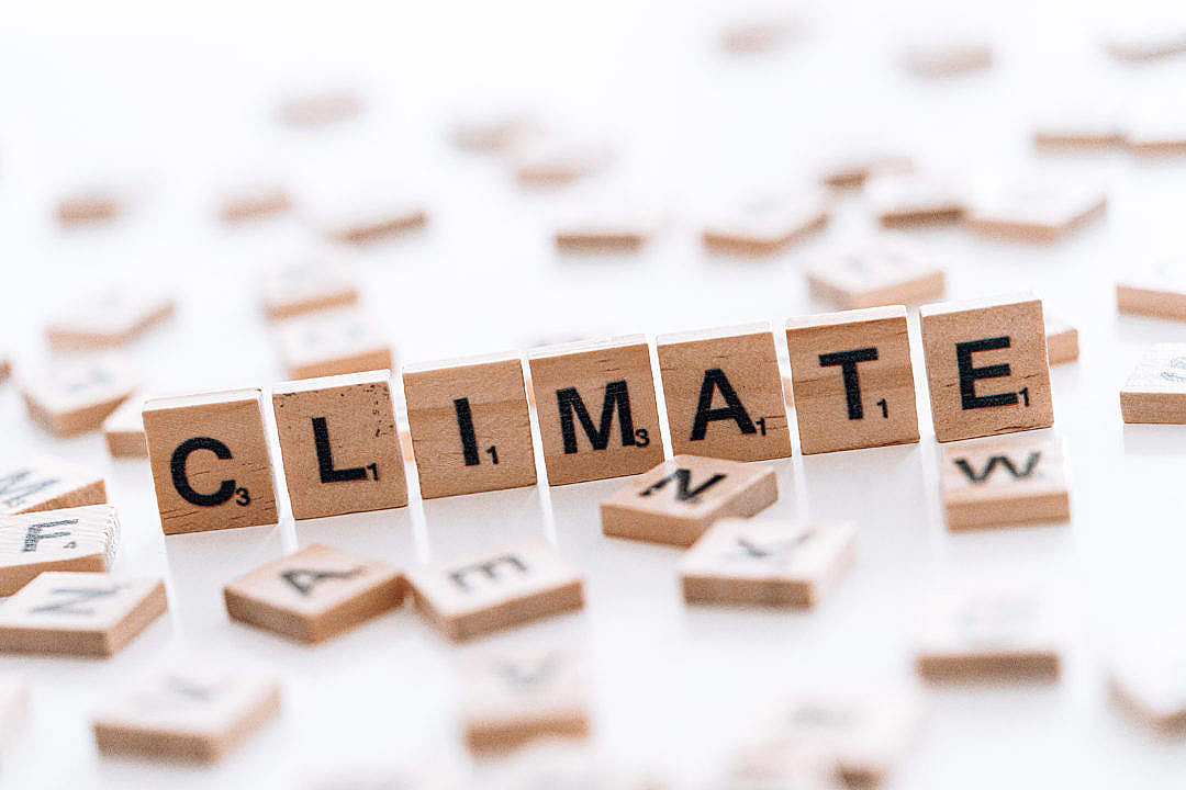 Download The Word Climate Written on The Scrabble Tiles FREE Stock Photo