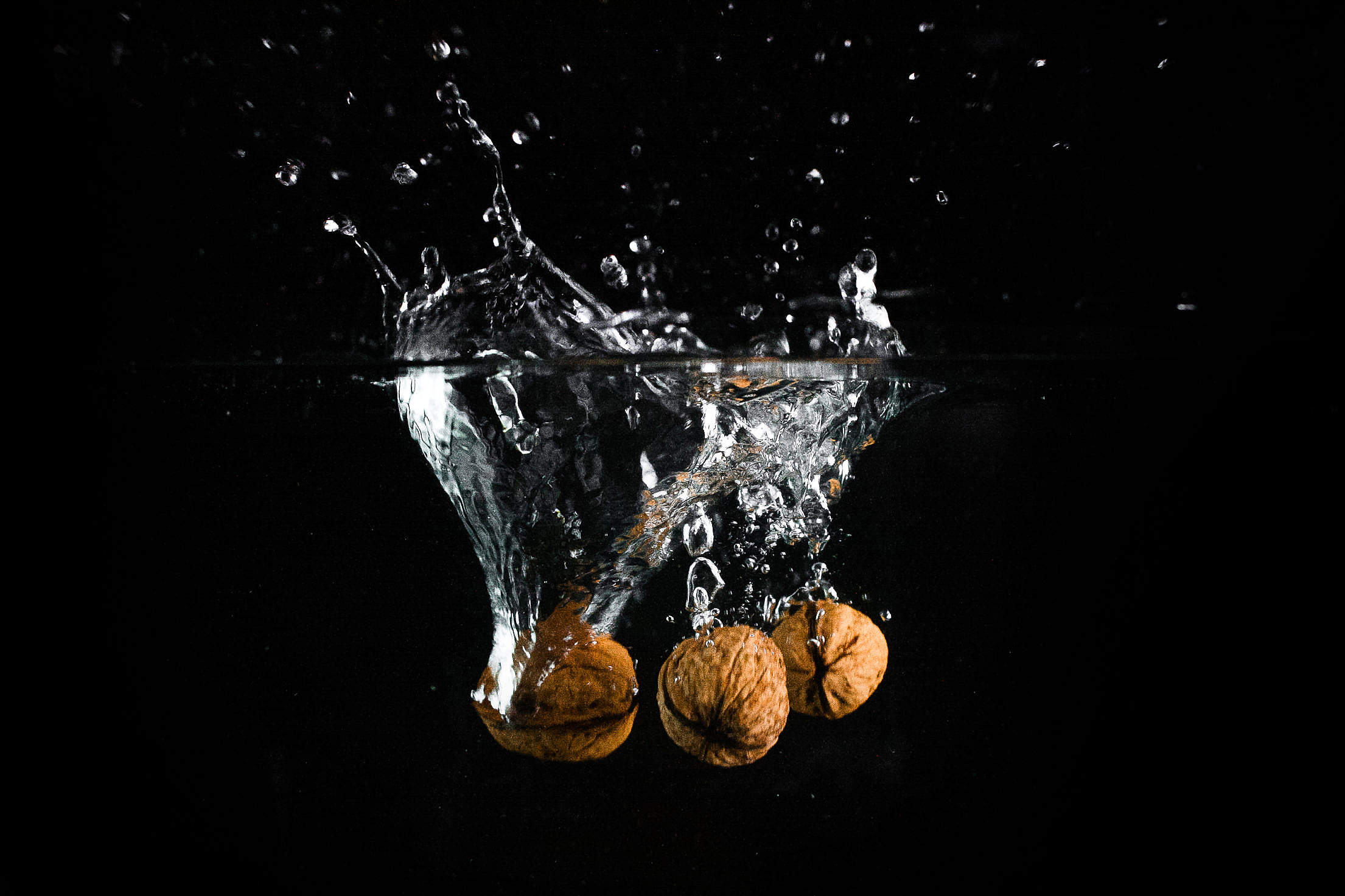 Three Nuts in Water Free Stock Photo