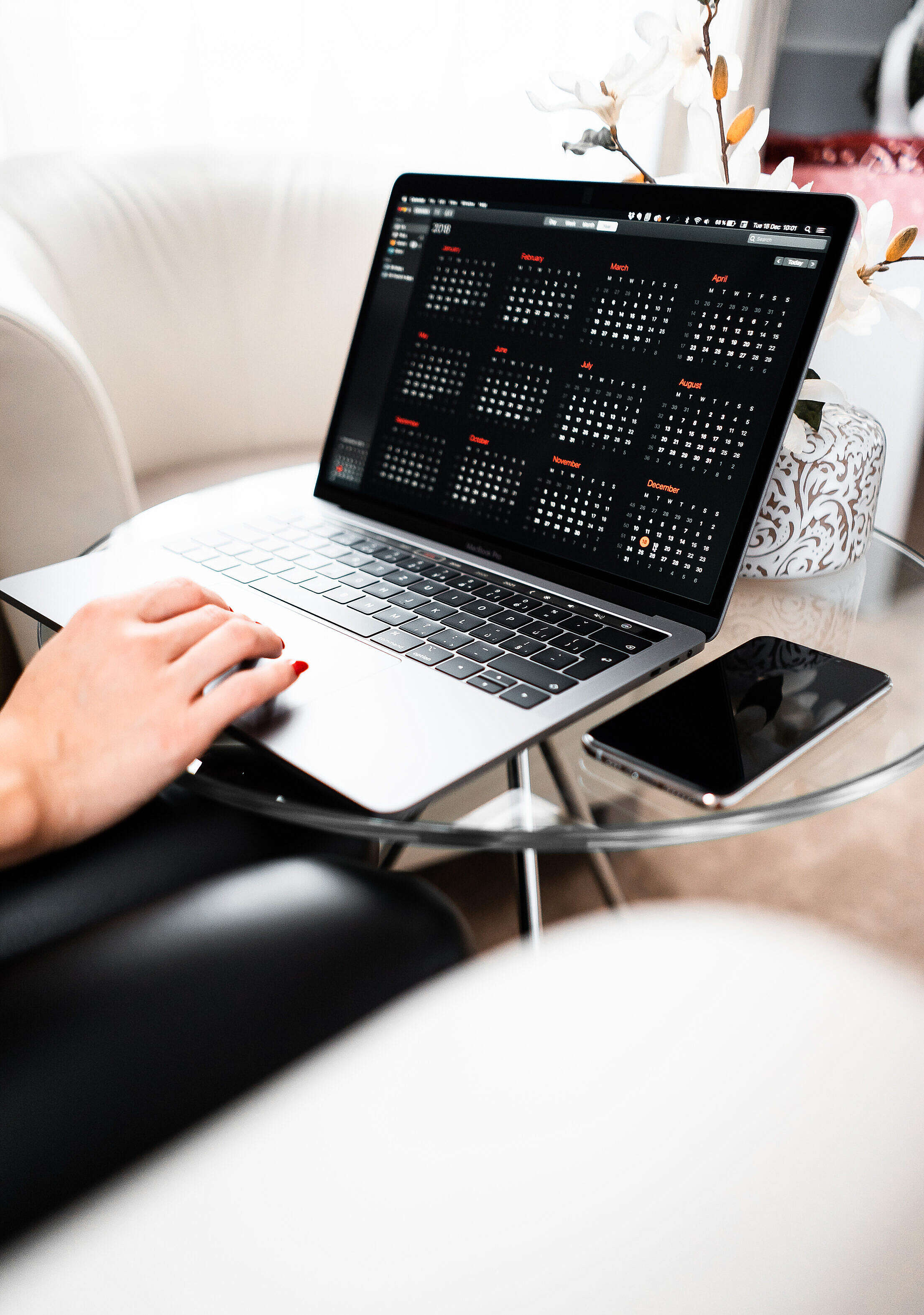 Time Management on Modern Laptop Free Stock Photo