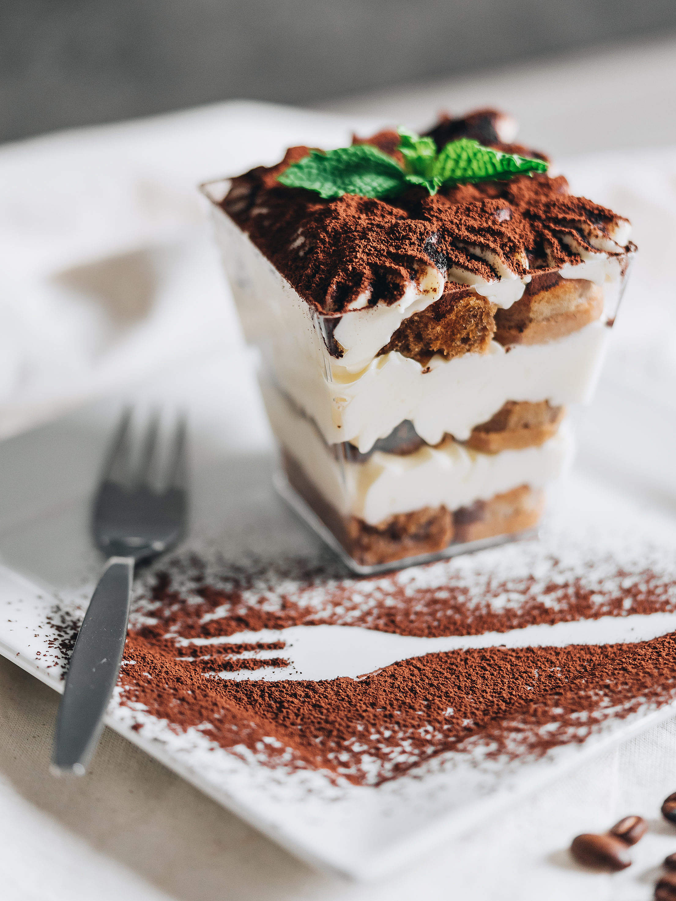 Tiramisu Served with Fork Outline Dusted with Cocoa Powder Free Stock Photo