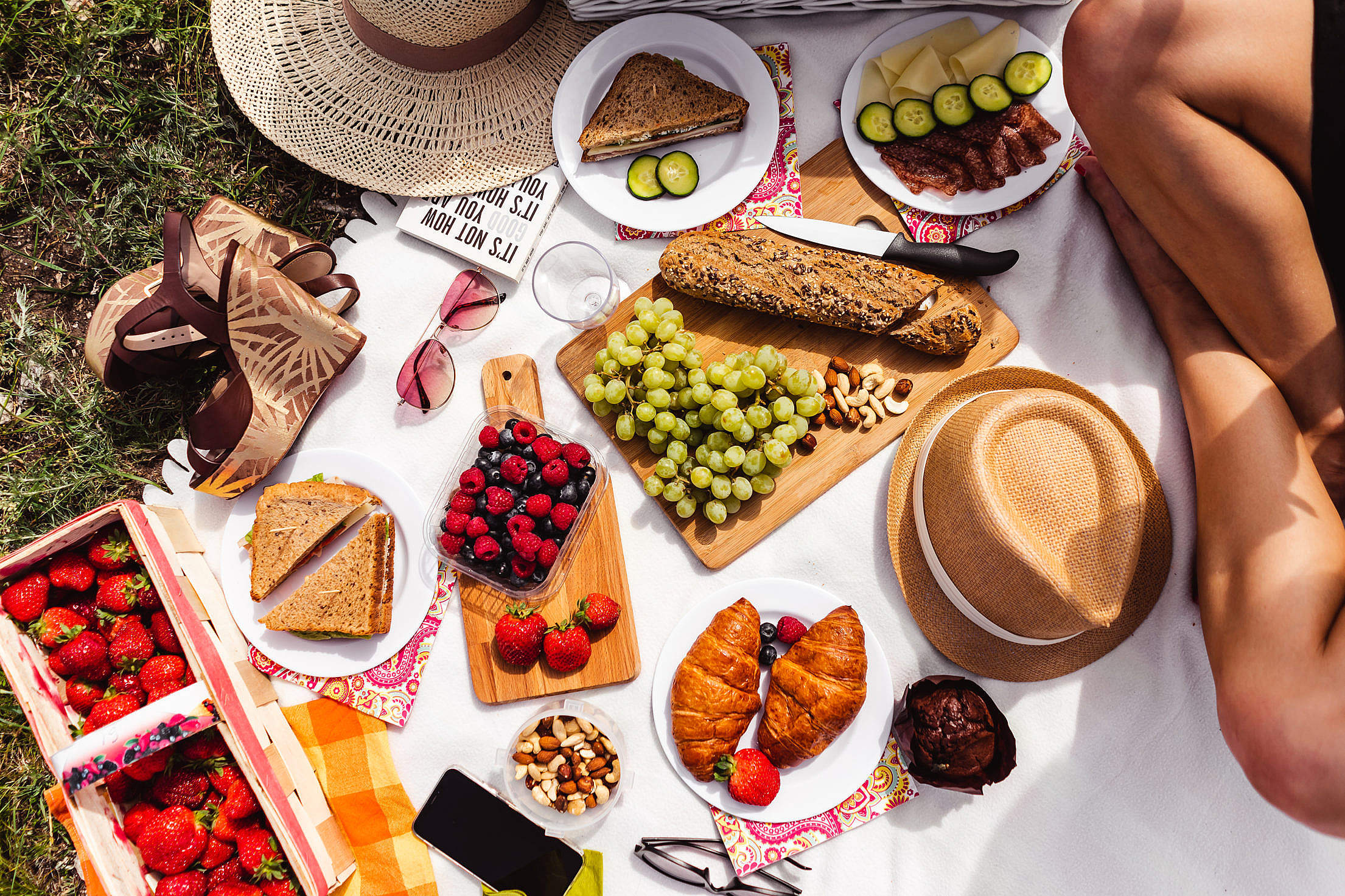 Top View Summer Picnic in The Nature Free Stock Photo