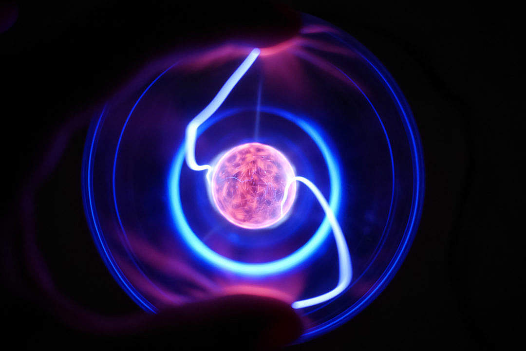 Download Touch of Life: Fingers on Plasma Ball Lamp FREE Stock Photo