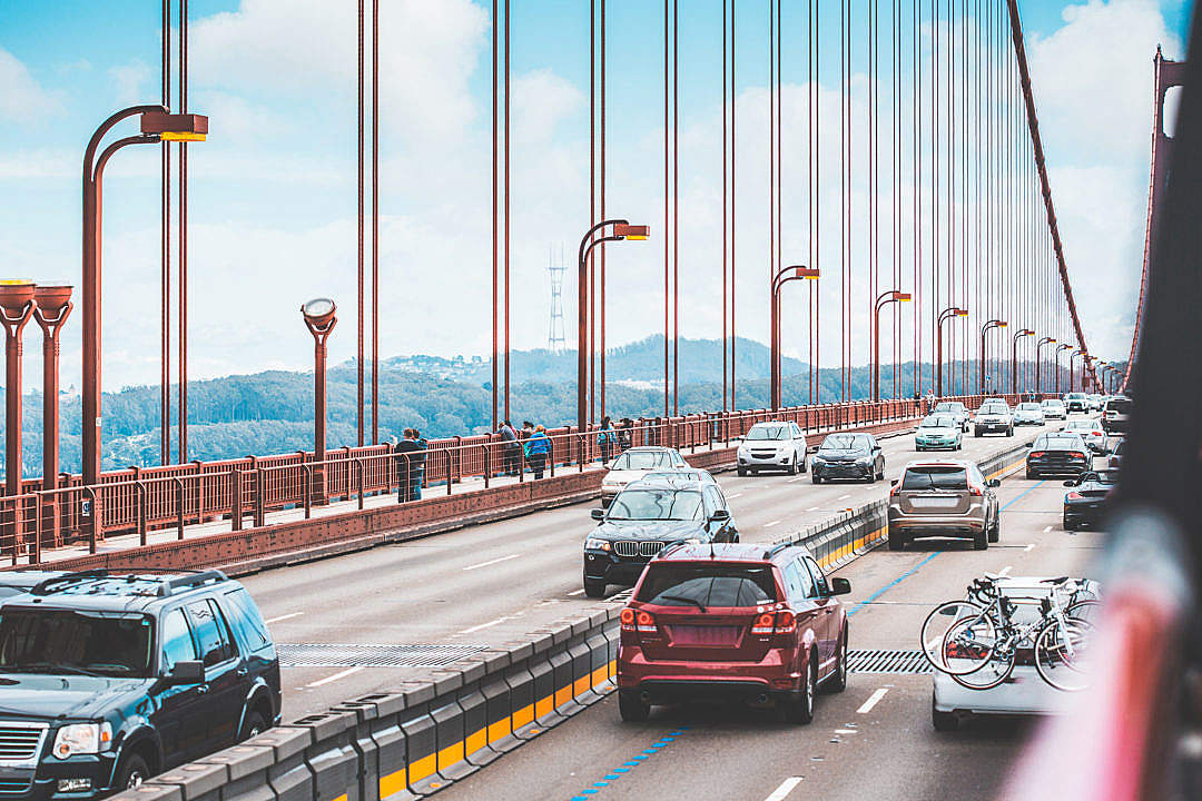 Download Traffic: a Lot of Cars Driving Across The Golden Gate Bridge FREE Stock Photo