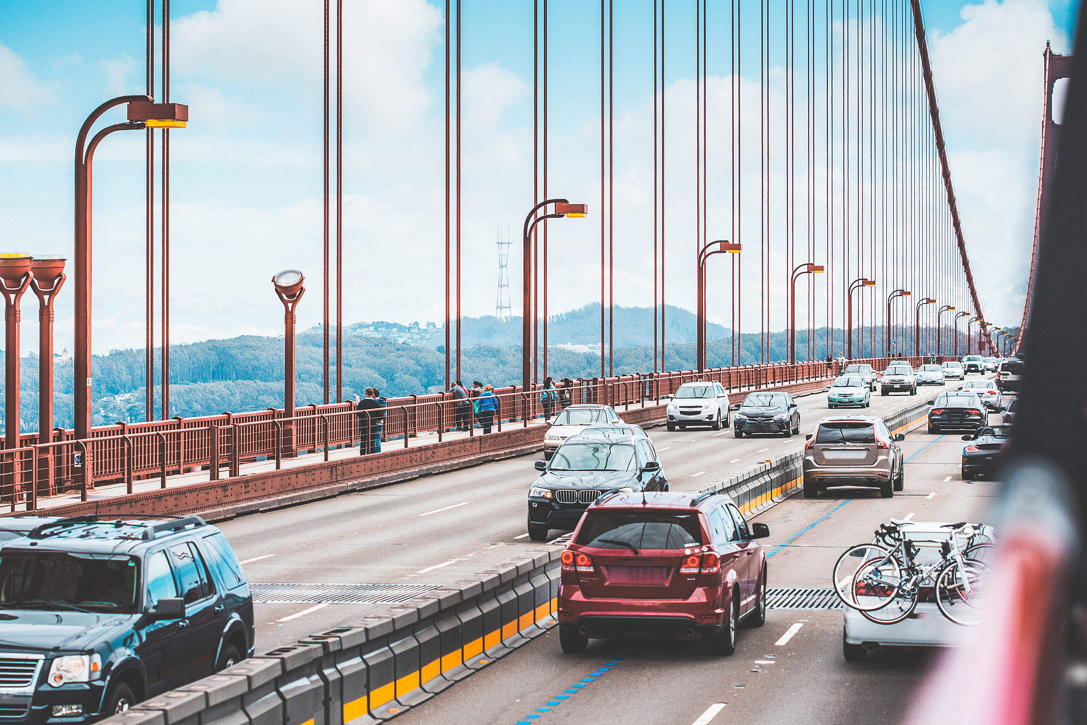 Traffic: a Lot of Cars Driving Across The Golden Gate Bridge Free Stock Photo