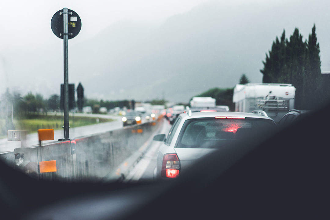 Download Traffic Jam and Bad Weather FREE Stock Photo