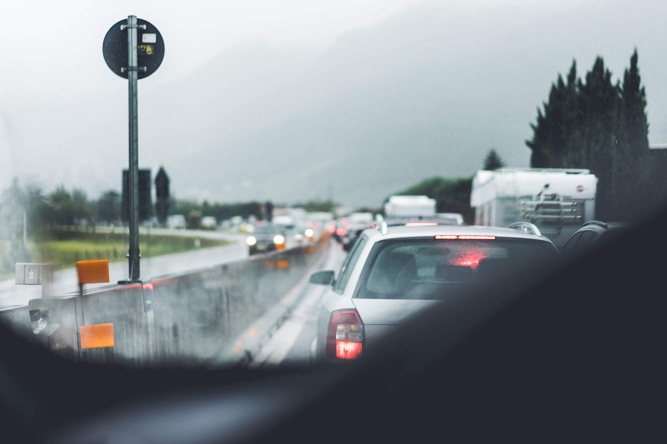 Traffic Jam and Bad Weather Free Stock Photo