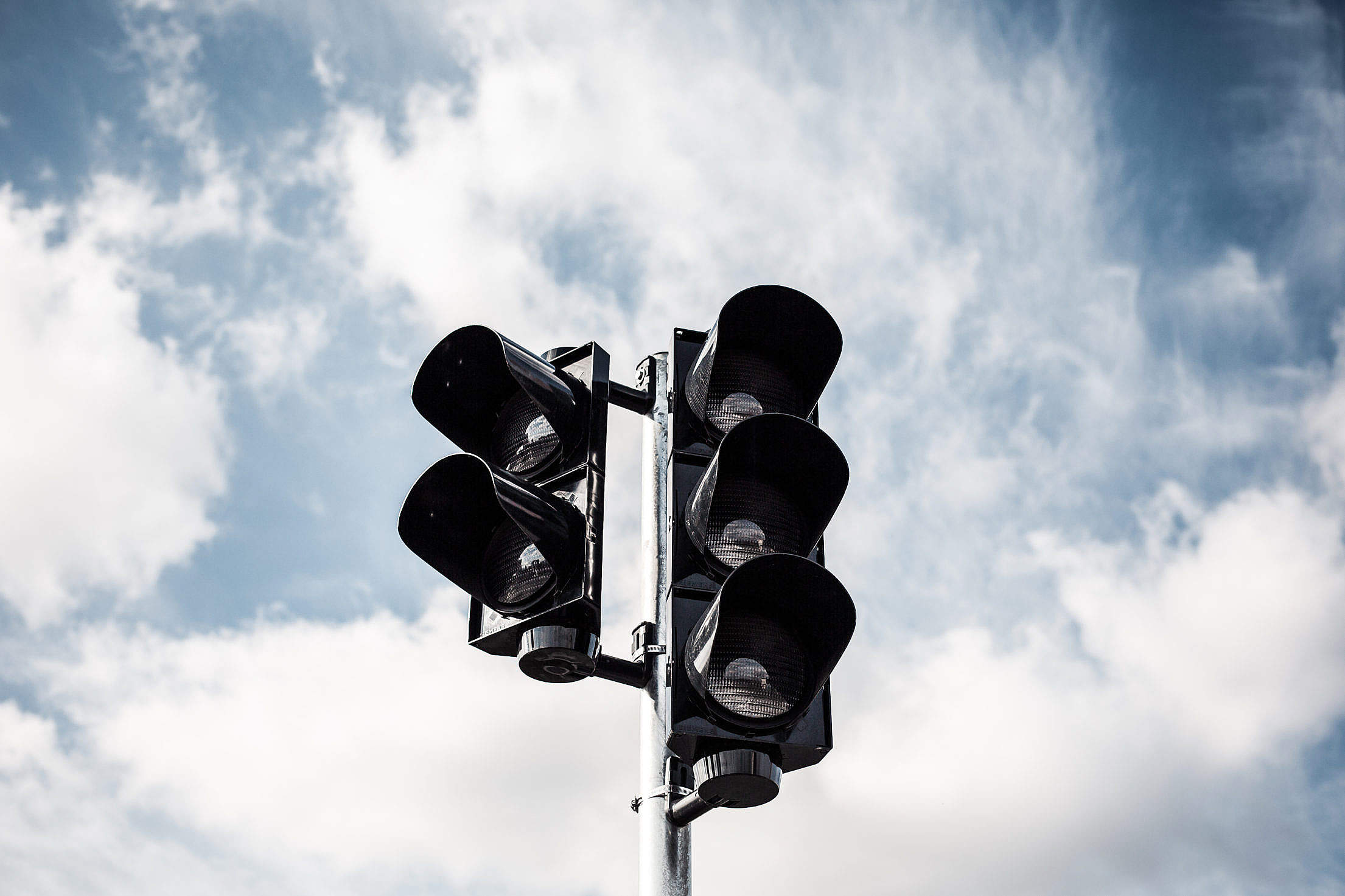 Traffic Lights and Sky With Clouds Free Stock Photo