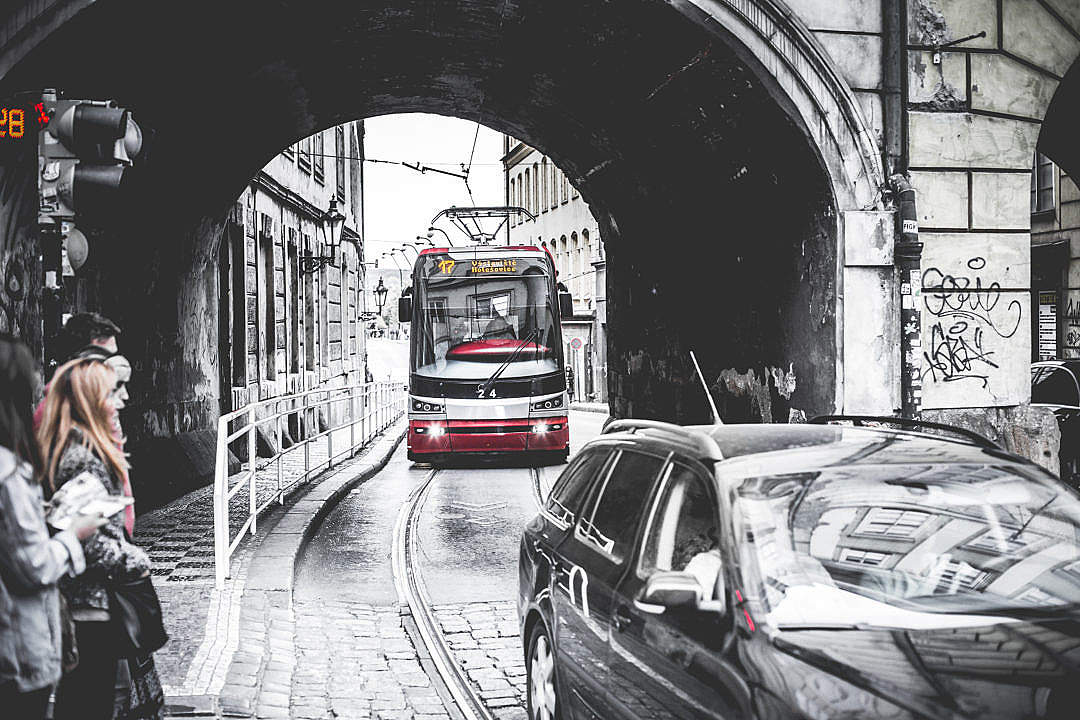 Download Tram Going Through The Tunnel Under The Bridge FREE Stock Photo