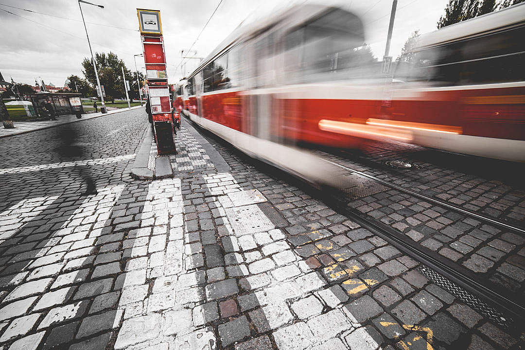 Download Tram Leaving the Tram Stop FREE Stock Photo