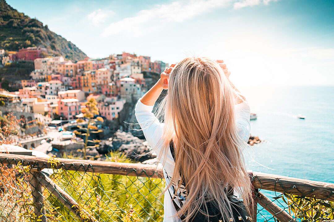 Download Travel Girl in Cinque Terre, Italy FREE Stock Photo