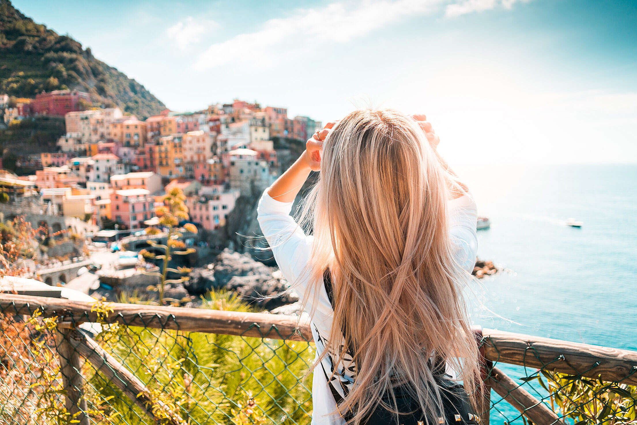 Travel Girl in Cinque Terre, Italy Free Stock Photo