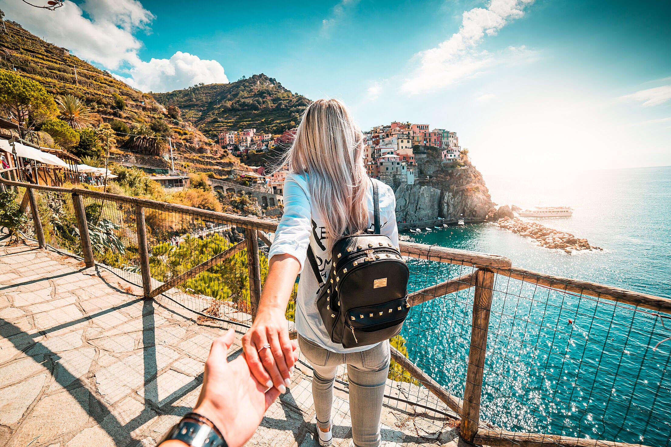 Traveling to Manarola, Cinque Terre Follow Me To Pose Free Stock Photo