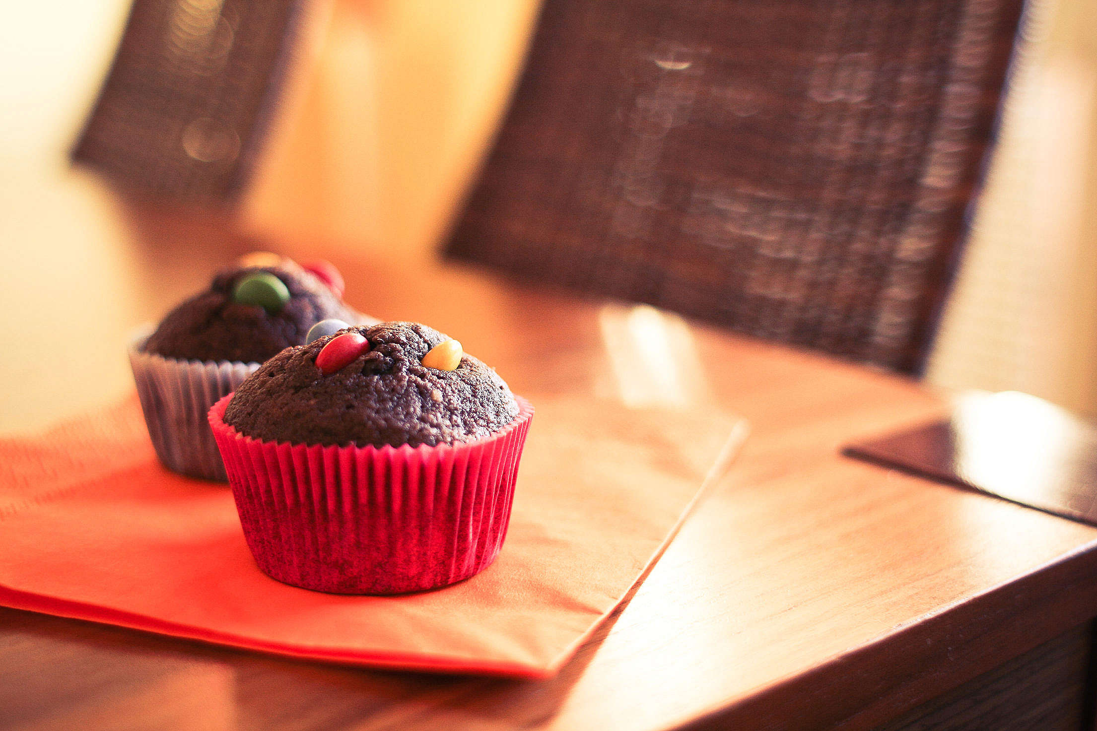 Two Delicious & Yummy Muffins Free Stock Photo