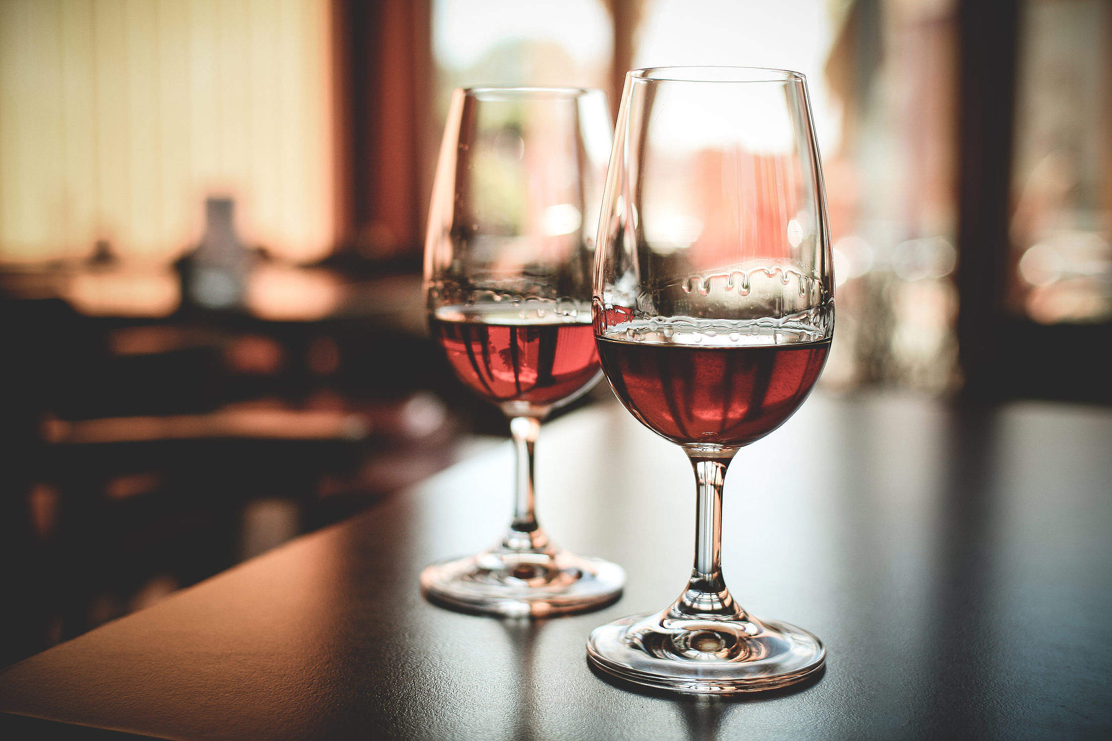 Two Glasses with Alcohol Drink Free Stock Photo