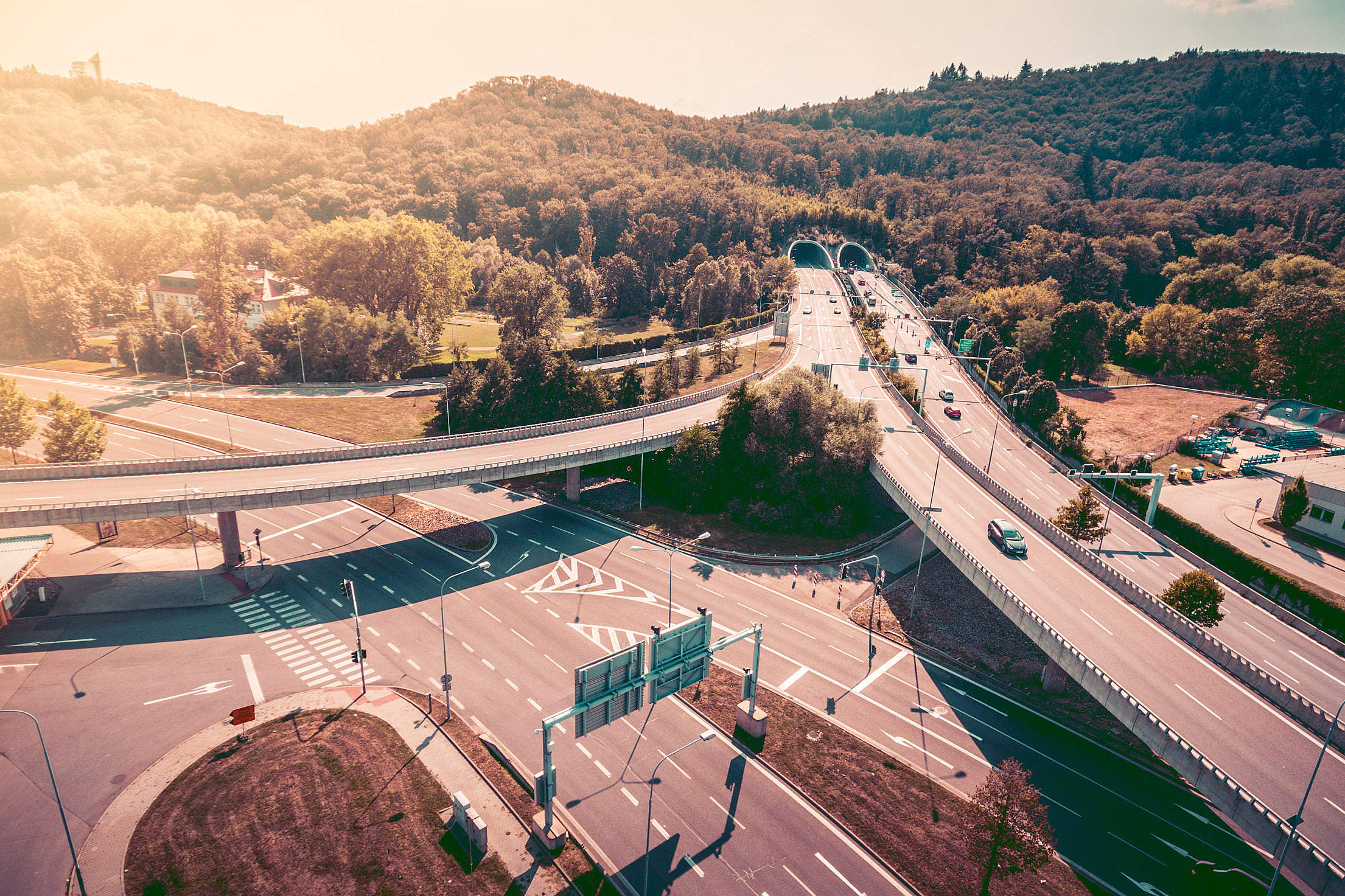 Two Level Interchange Roads with Tunnels Free Stock Photo