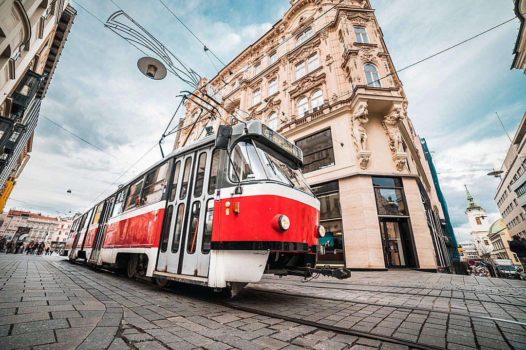 Download Typical Old Tram in Czech Republic FREE Stock Photo