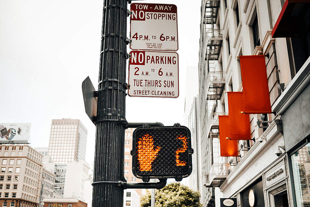 Download Typical Pedestrian Red Traffic Lights Countdown in California FREE Stock Photo