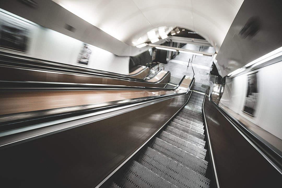 Download Underground Escalator in Motion FREE Stock Photo