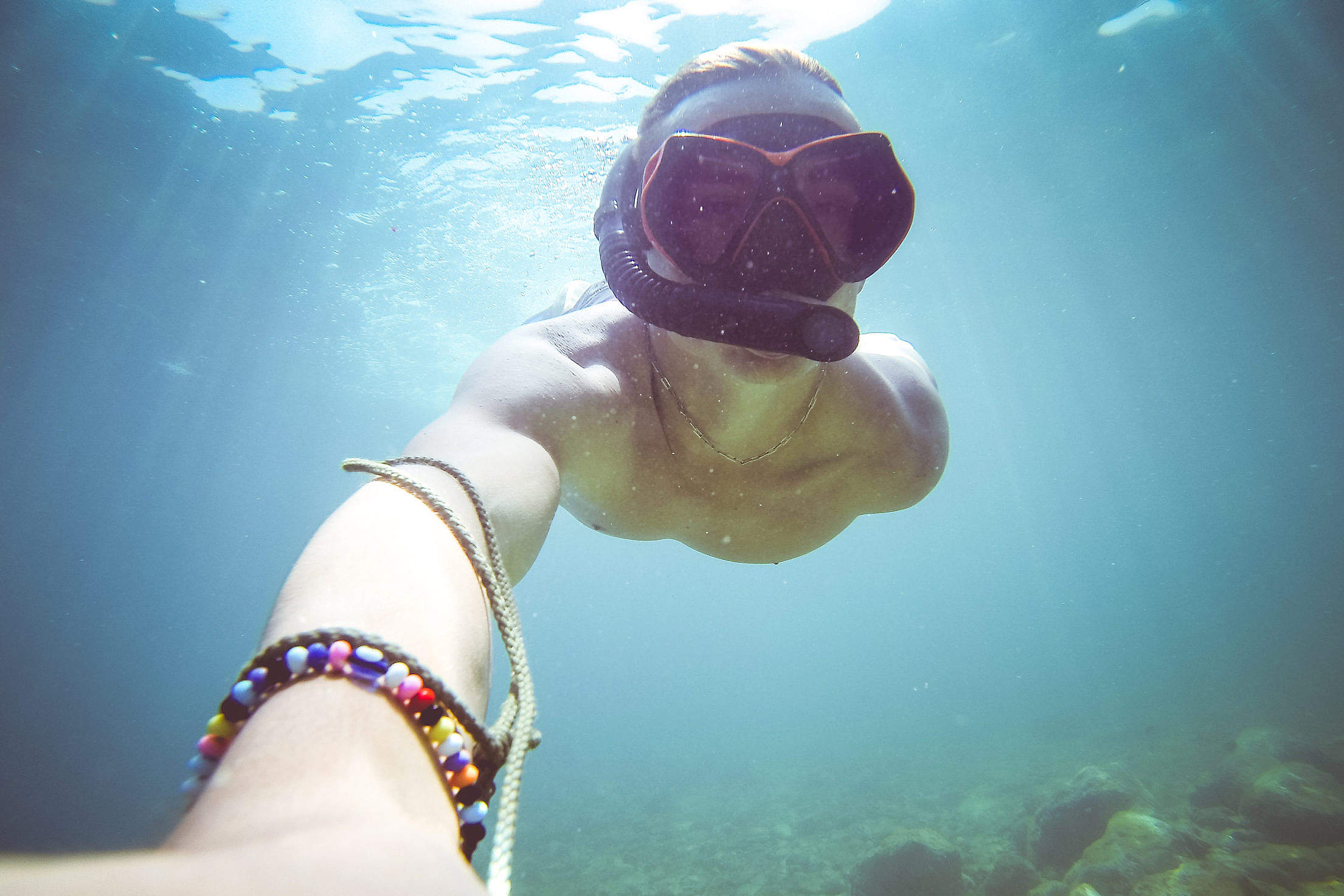 Underwater Diving/Snorkeling Selfie in The Sea Free Stock Photo