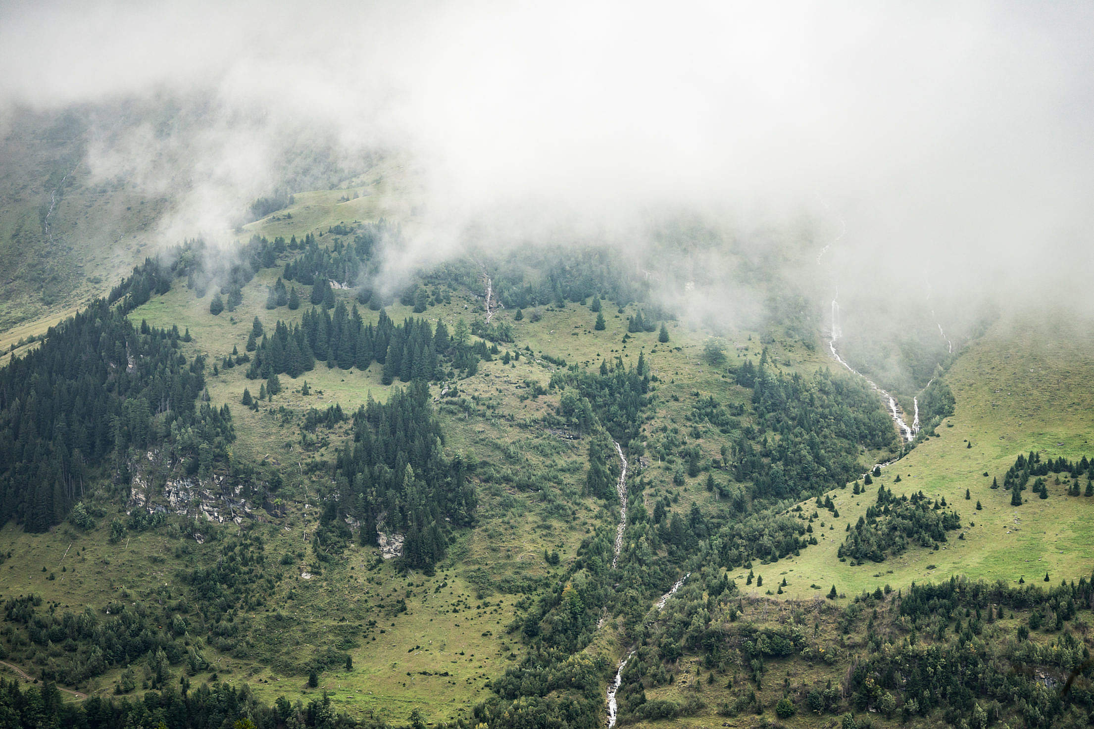 Untouched Mountain Nature Under Fog Free Stock Photo