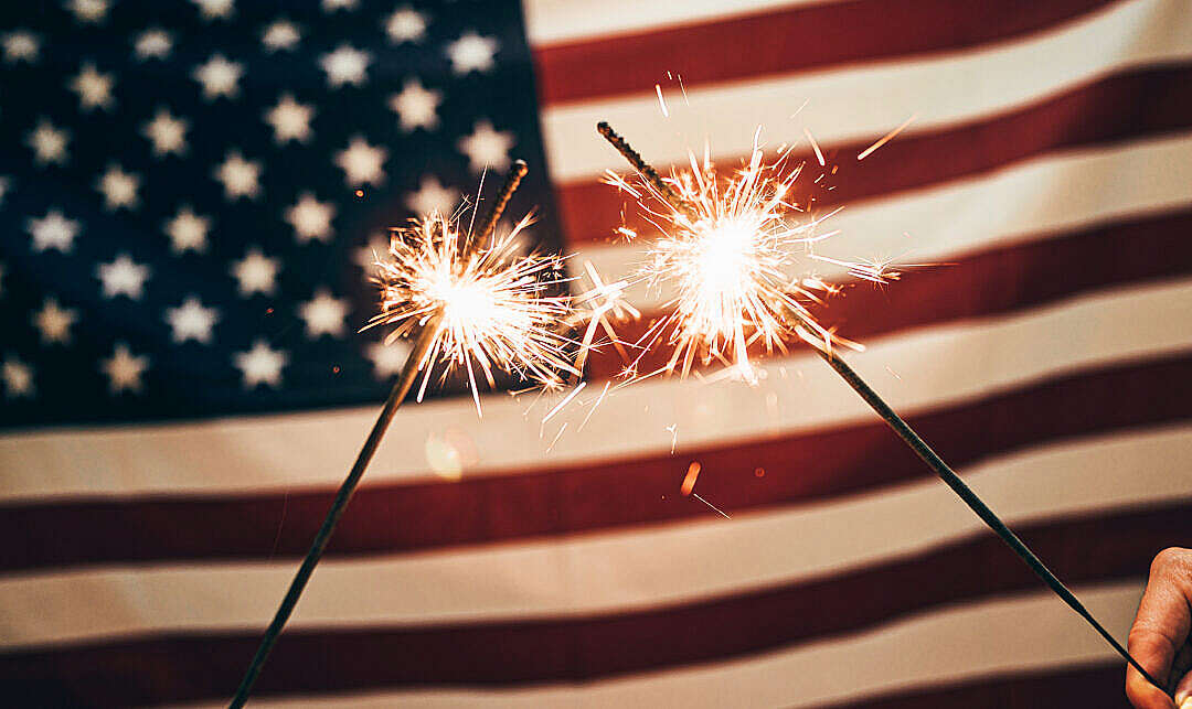 Download USA Flag and Sparklers FREE Stock Photo