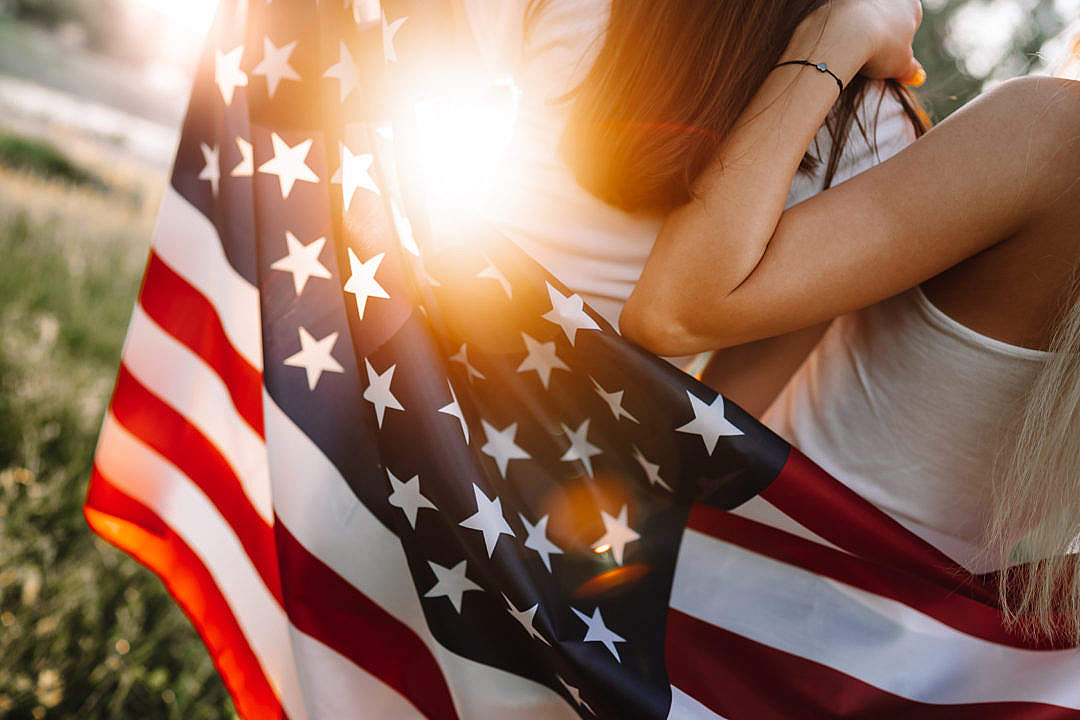 Download USA Flag and Sunset FREE Stock Photo
