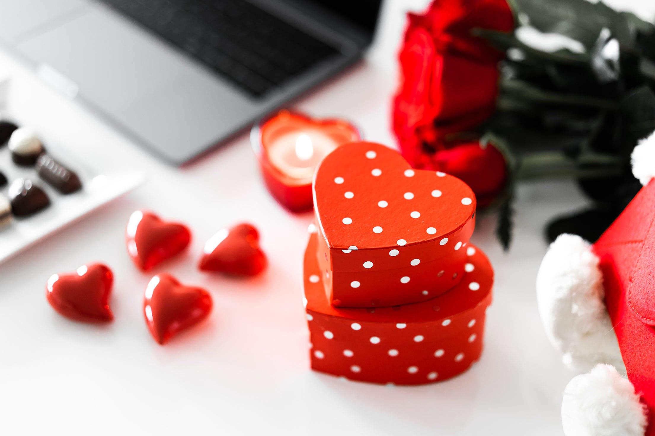 Valentine's Day Heart Shaped Gift Boxes Free Stock Photo