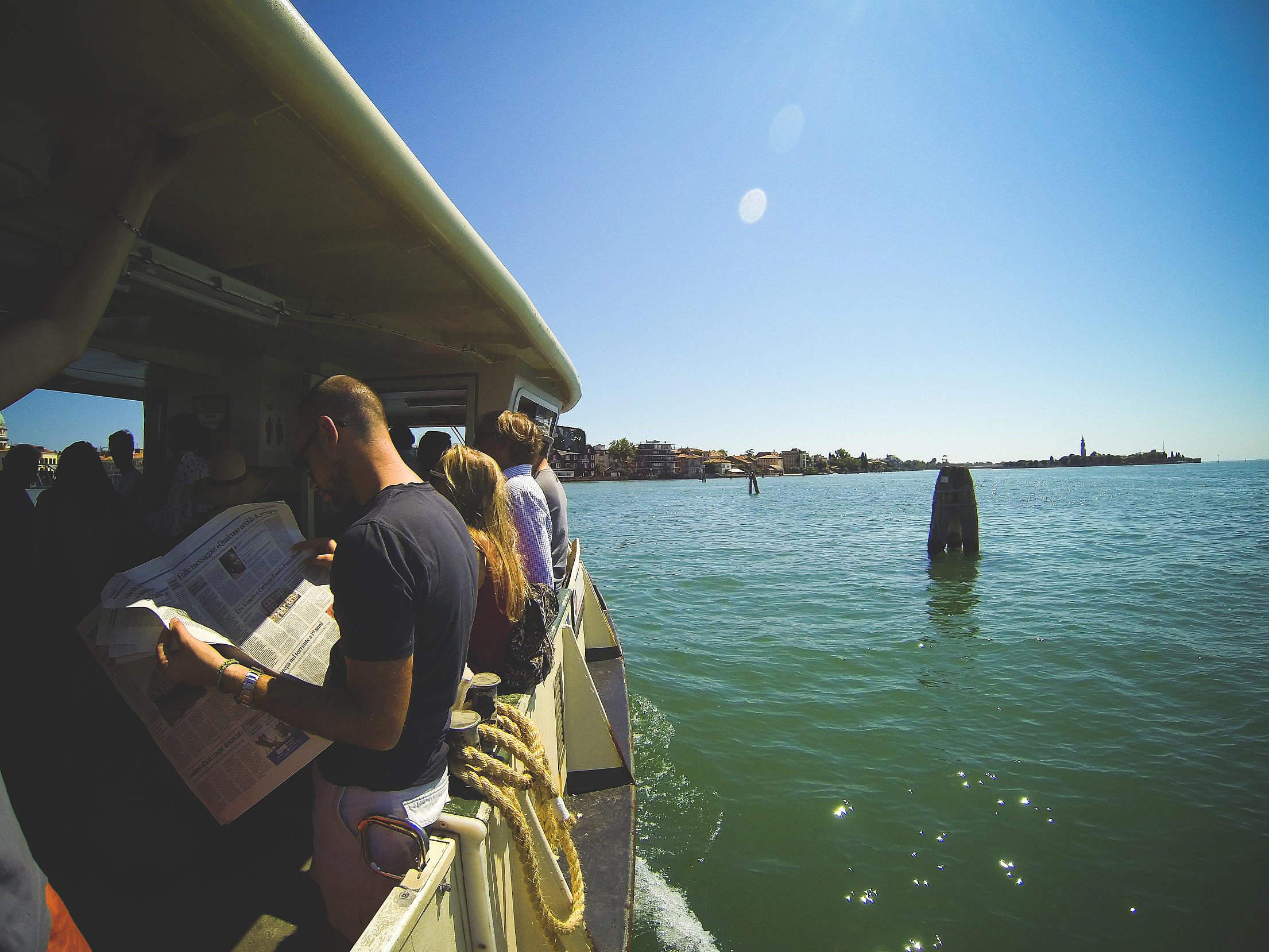 Vaporetto Sail From Venice To Lido, Italy Free Stock Photo
