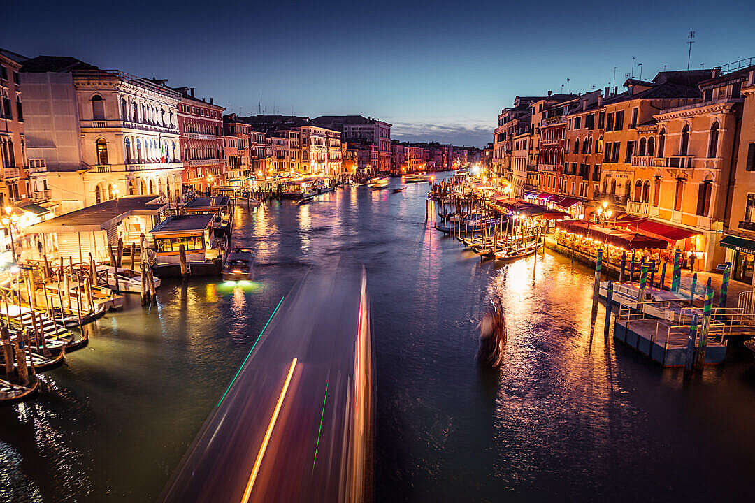 Download Venice Canal Grande at Night FREE Stock Photo