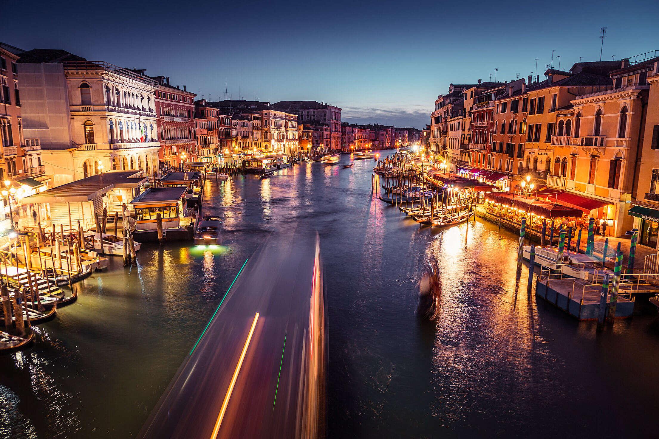 Venice Canal Grande at Night Free Stock Photo