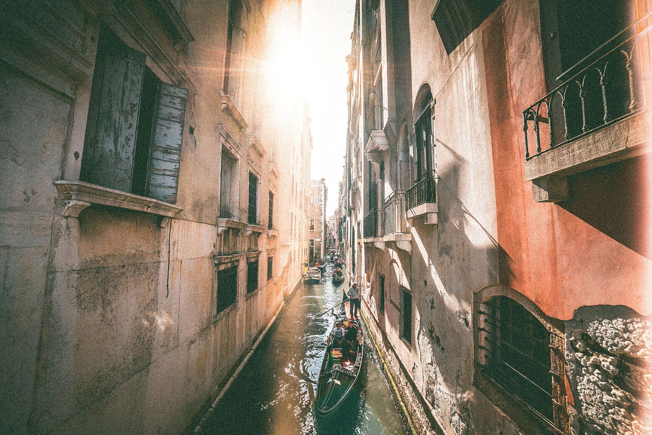 Venice Canals with Gondolas Free Stock Photo