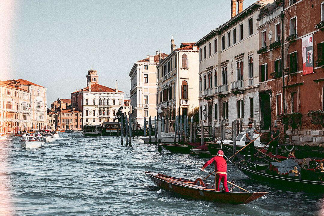 Download Venice Gondolas on Canal Grande FREE Stock Photo