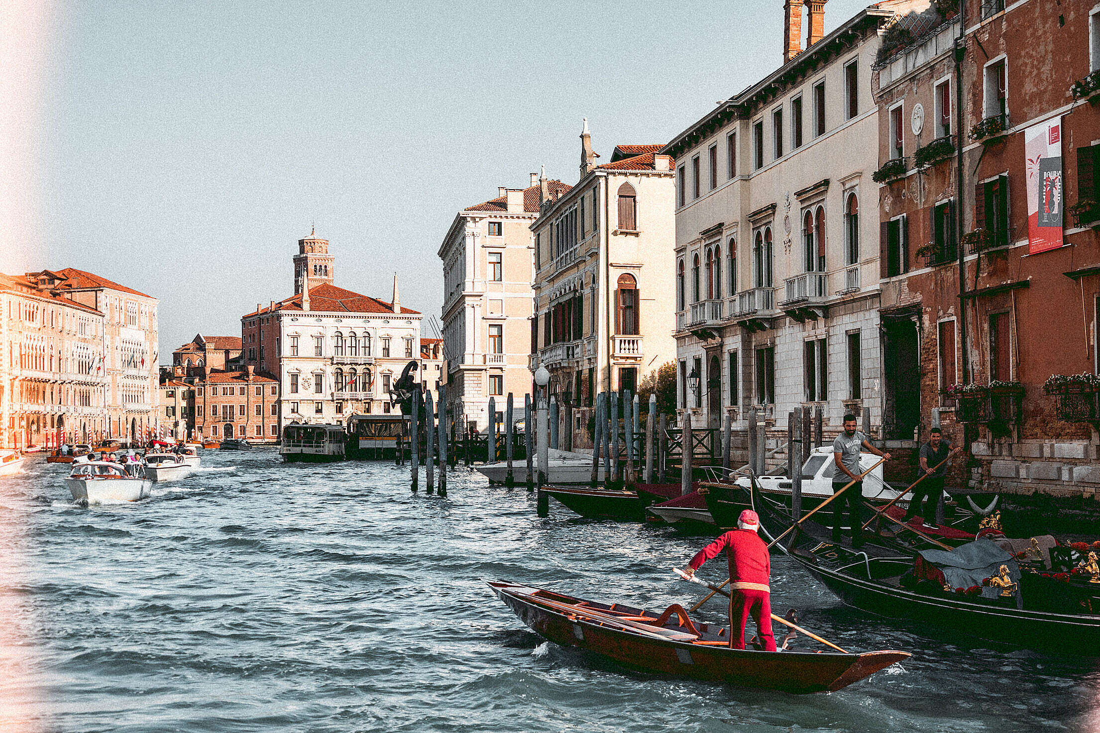 Venice Gondolas on Canal Grande Free Stock Photo