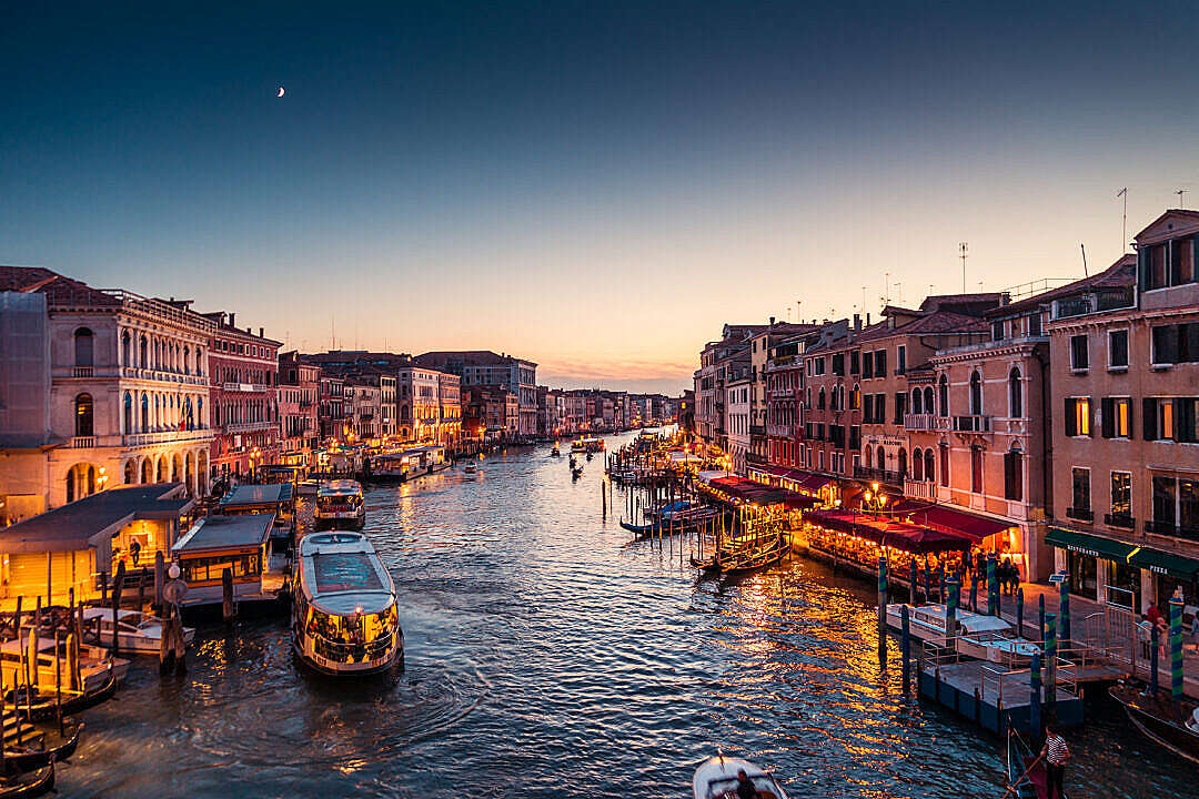 Download Venice Italy Canal Grande at Night FREE Stock Photo