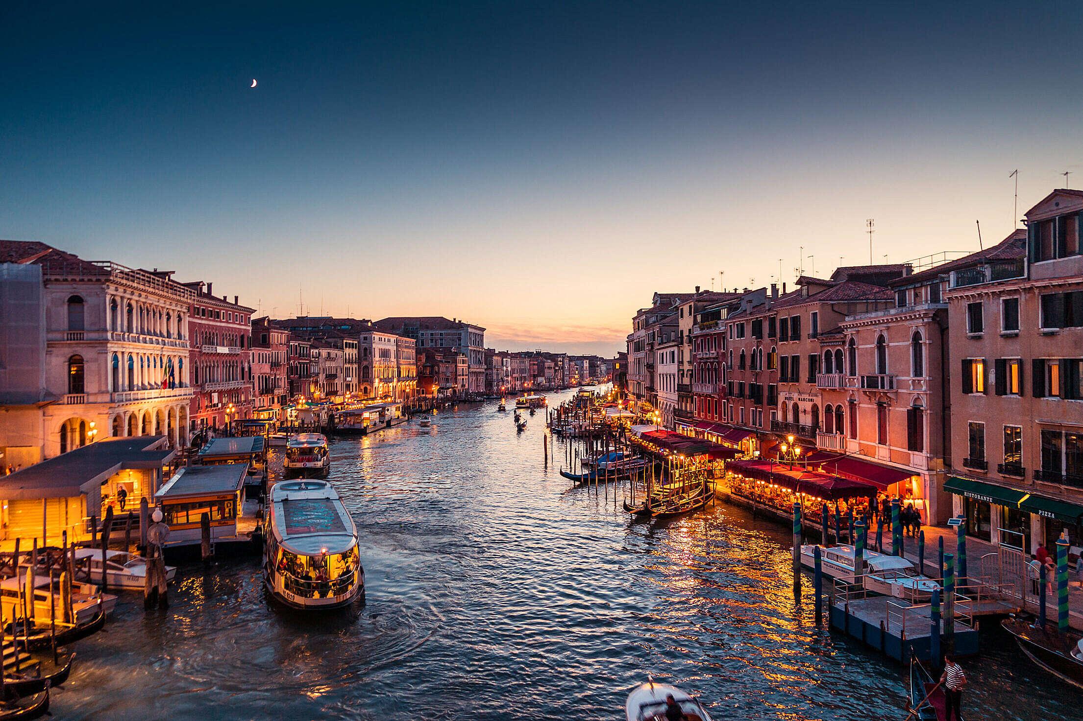 Venice Italy Canal Grande at Night Free Stock Photo