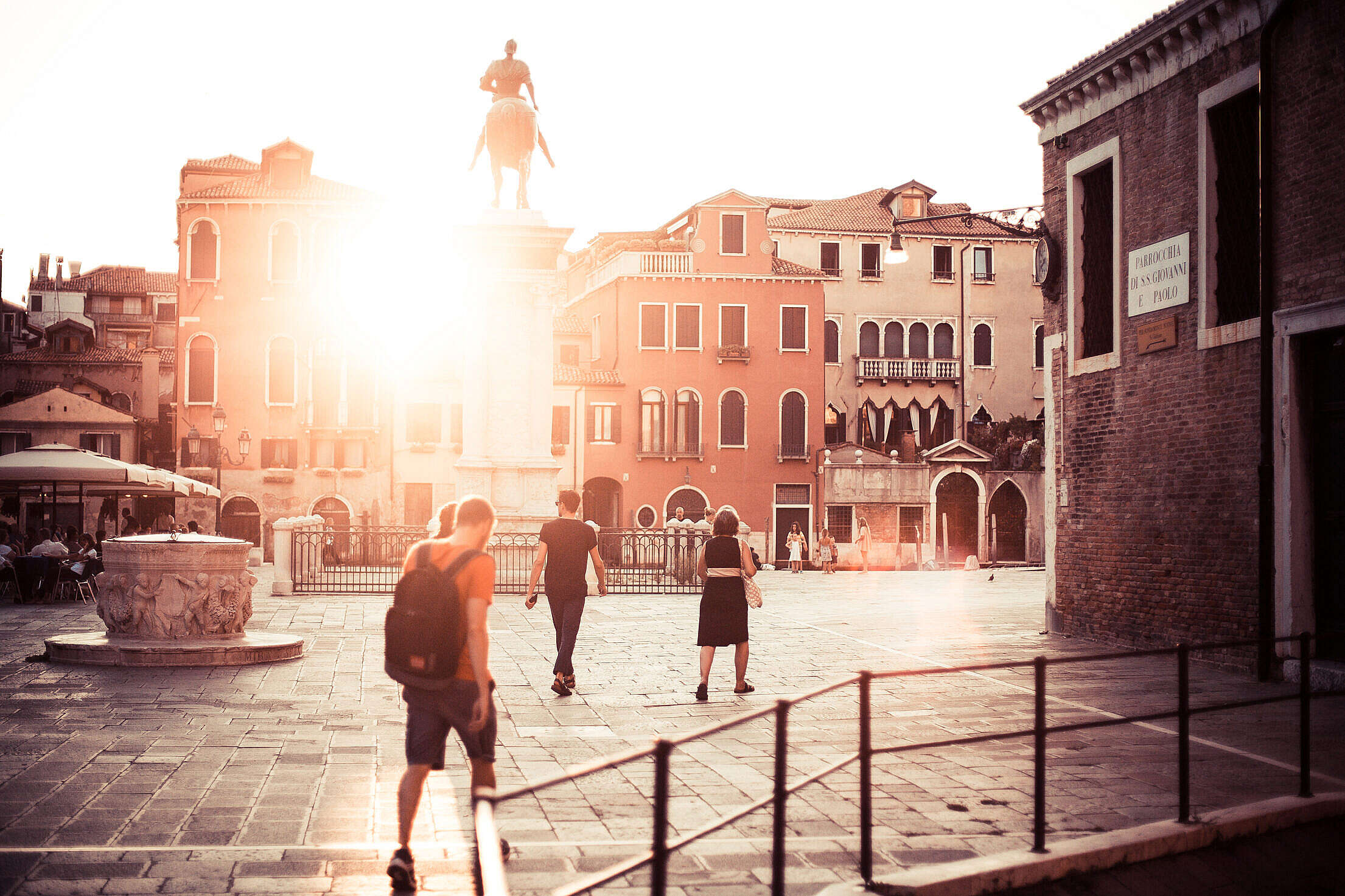 Venice Piazzale Square Sunset Free Stock Photo