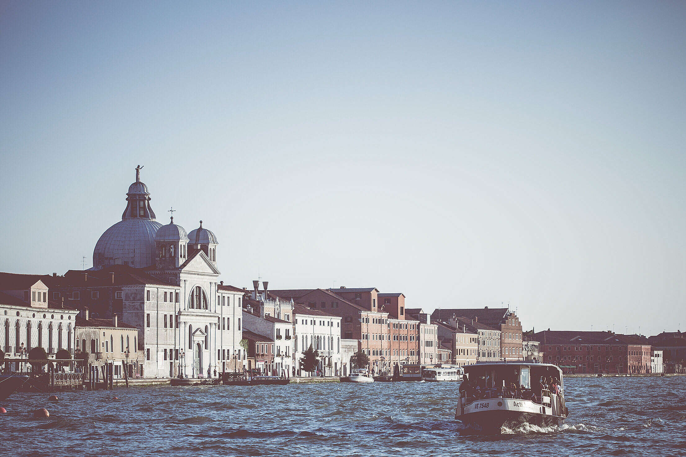 Venice Vaporetto Water-Bus on Canal Grande Free Stock Photo