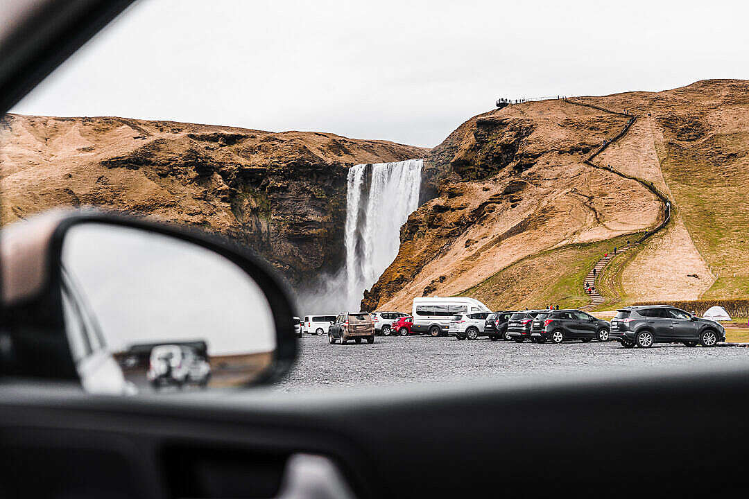 Download View from a Car to Skógafoss Waterfall FREE Stock Photo