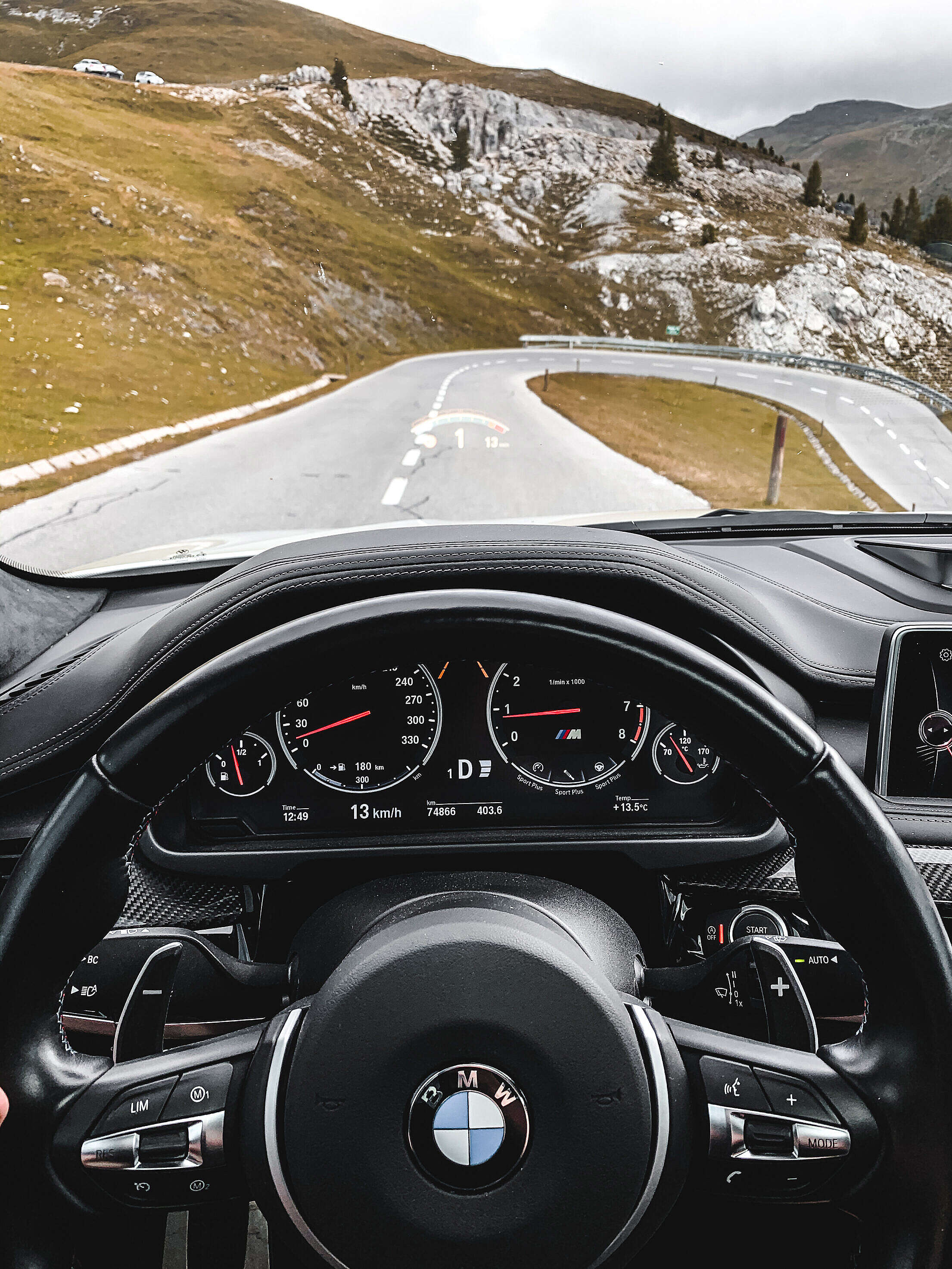View from a Sport Car Cockpit on the Beautiful Nockalm Road Free Stock Photo