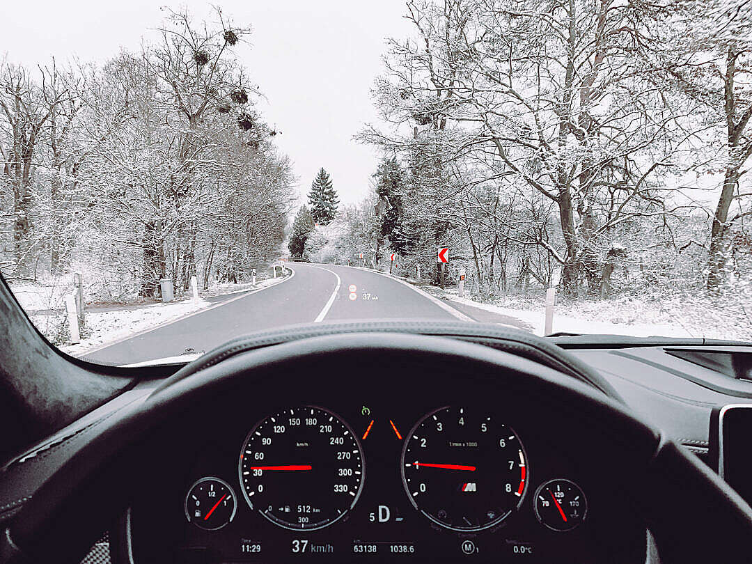 Download View from The Car Driving in Winter FREE Stock Photo