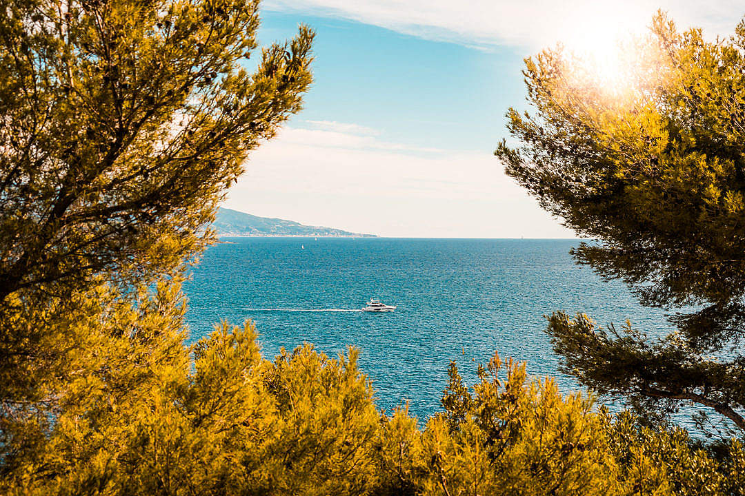 Download View of a Yacht in The Mediterranean Sea FREE Stock Photo