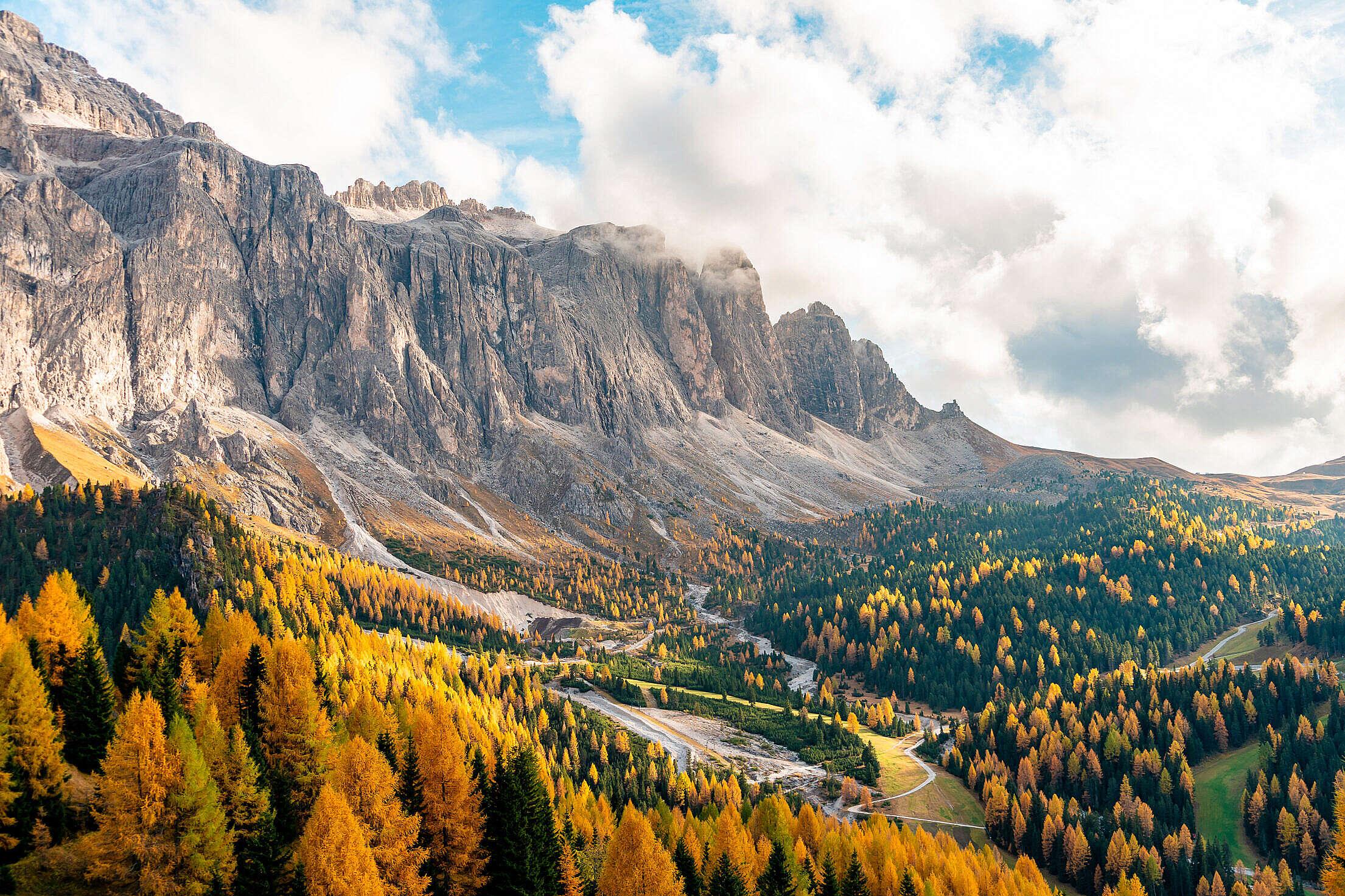 View of Autumn Dolomites, Passo Gardena, Italy Free Stock Photo