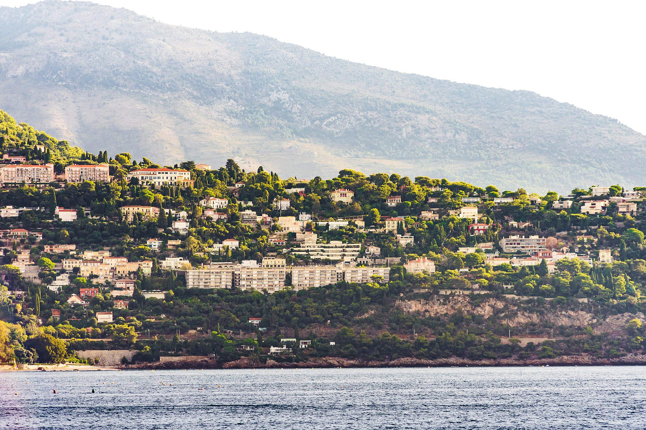 View of Houses Built on Steep Hillside, Monaco Free Stock Photo