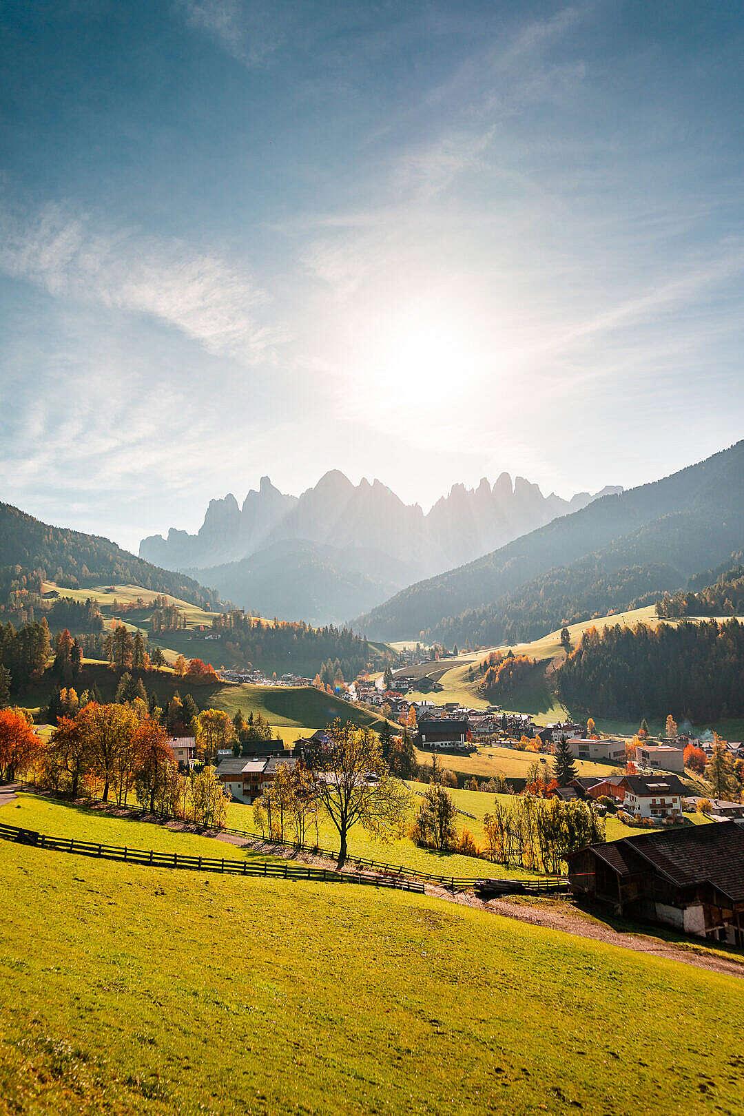 Download View of Ranui Village, Dolomites Italy FREE Stock Photo